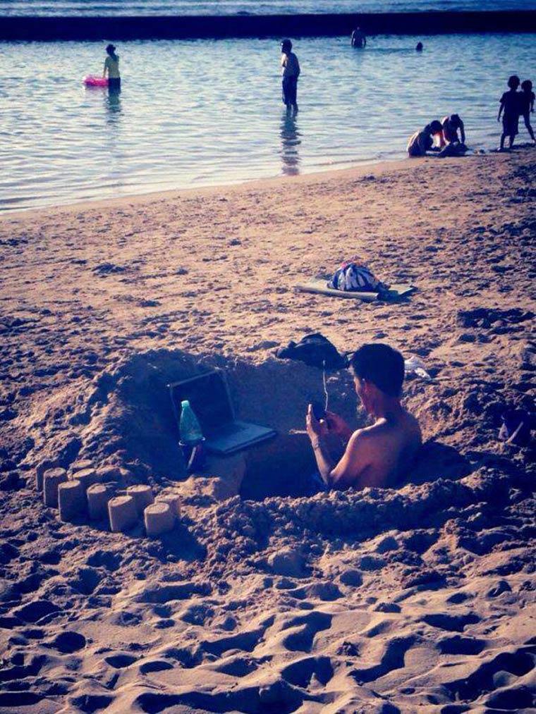 travail a la plage