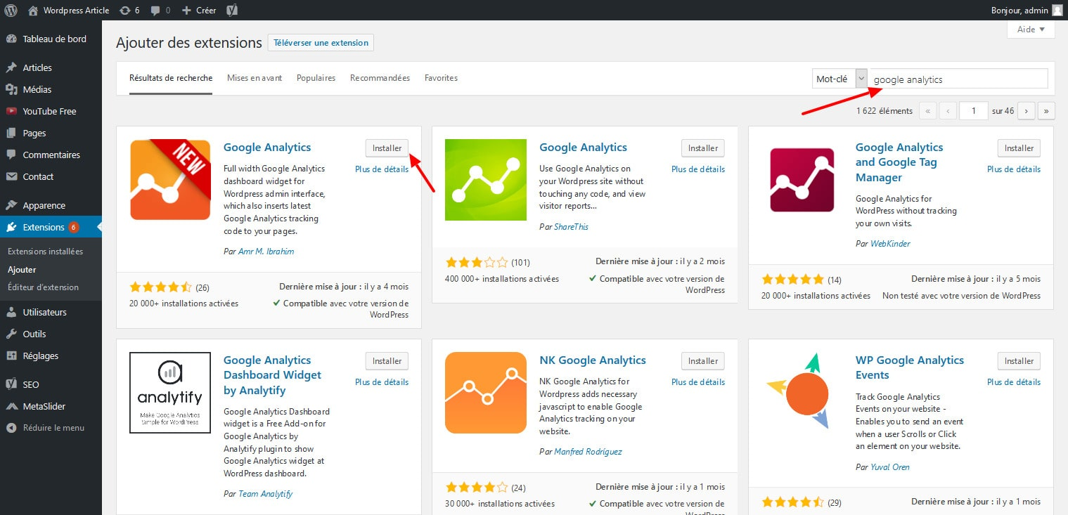 03 Installer Extension Google Analytics Pour WordPress