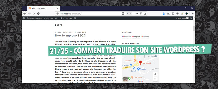 ⇒Tuto N°: 21/25 – Comment traduire son site WordPress ?