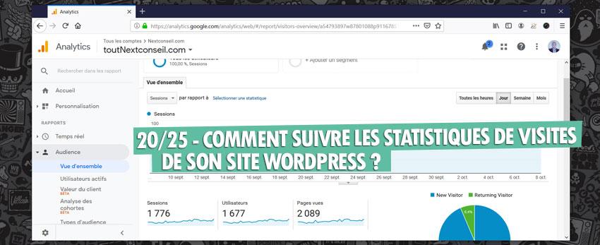 ⇒Tuto N°: 20/25 – Comment suivre ses statistiques de visites sur WordPress ?